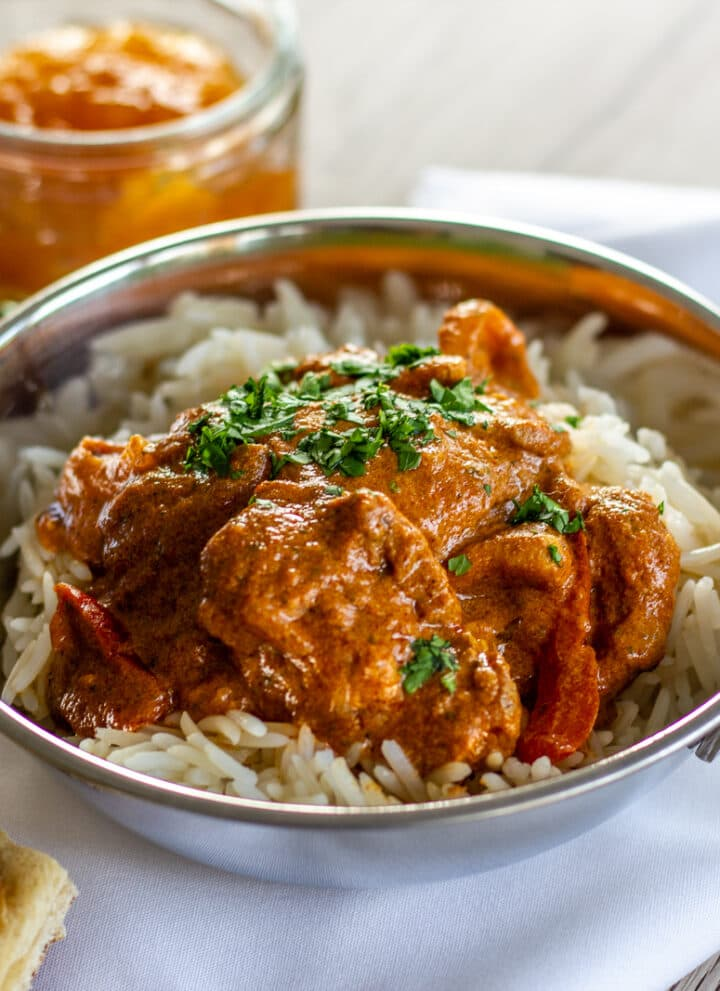 Slow Cooker Chicken Tikka Masala with Naan bread and mango chutney