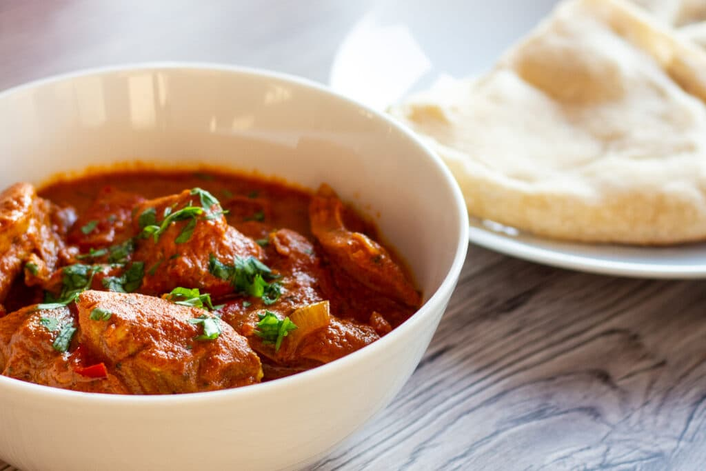 Slow Cooker Butter Chicken and Naan