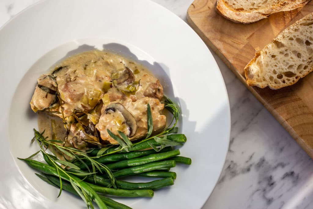 Slow Cooker Tarragon Chicken and bread