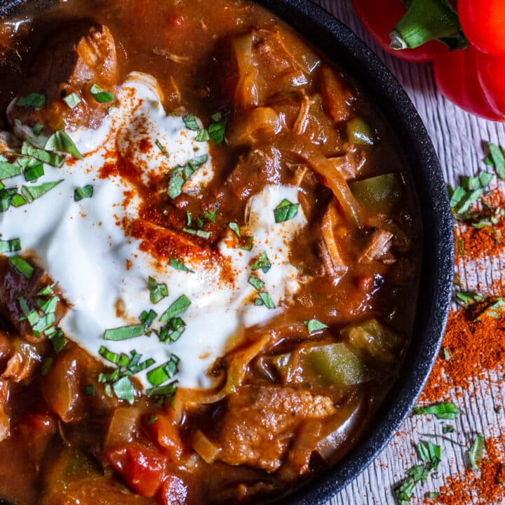 Overhead view of Slow Cooker Beef Goulash
