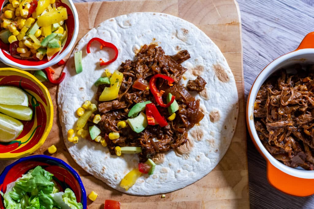 Slow Cooker Spicy Beef Tacos and sweetcorn