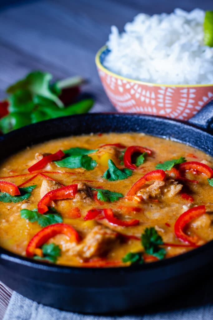 Crockpot Thai Red Curry with rice and coriander