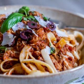 Side view of Chicken Marinara and pasta