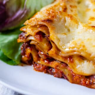 Close up of slow cooker lasagne