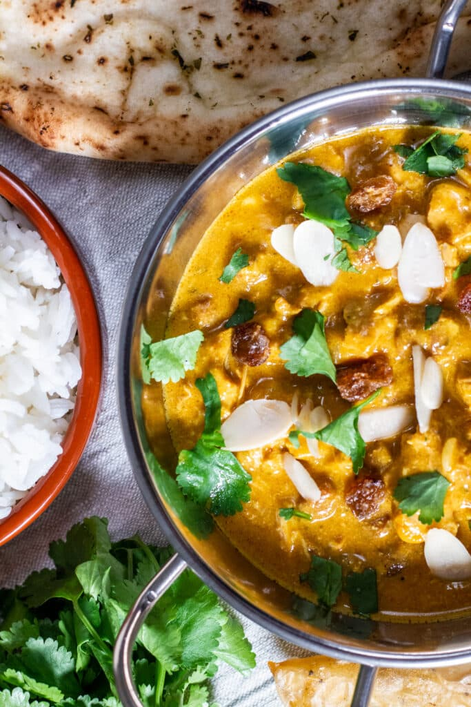 Overhead closeup of a creamy korma curry sauce