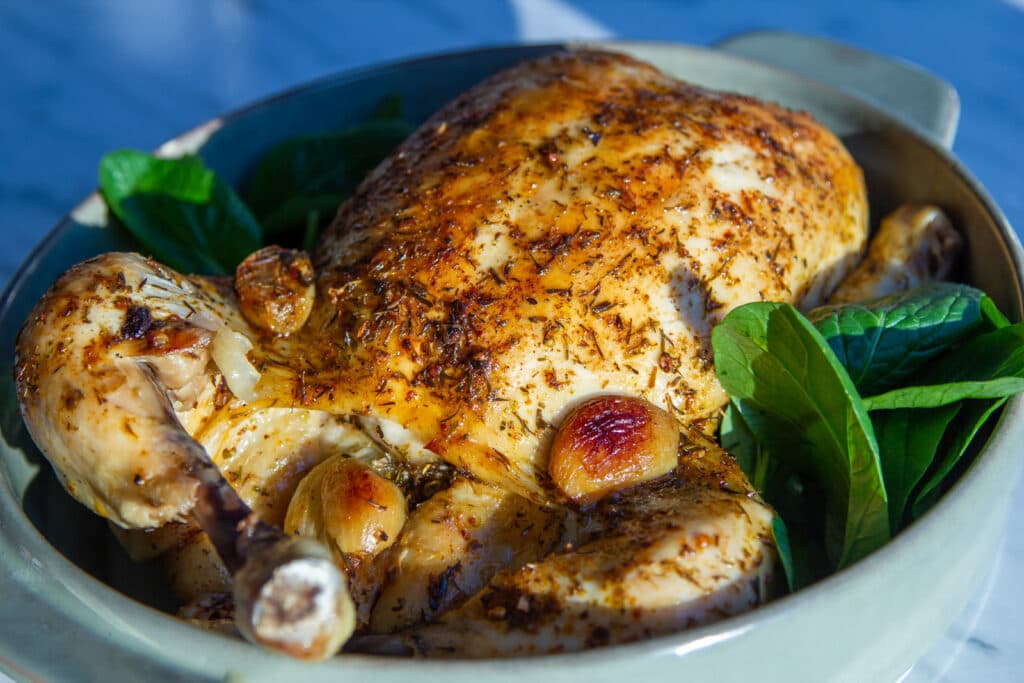 Full view of whole chicken cooked in the slow cooker.