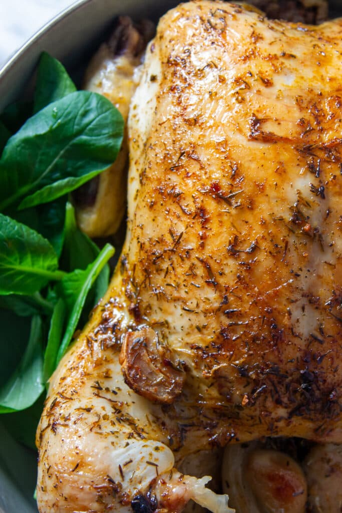 Close up of Slow Cooker Roast Chicken with seasoning.