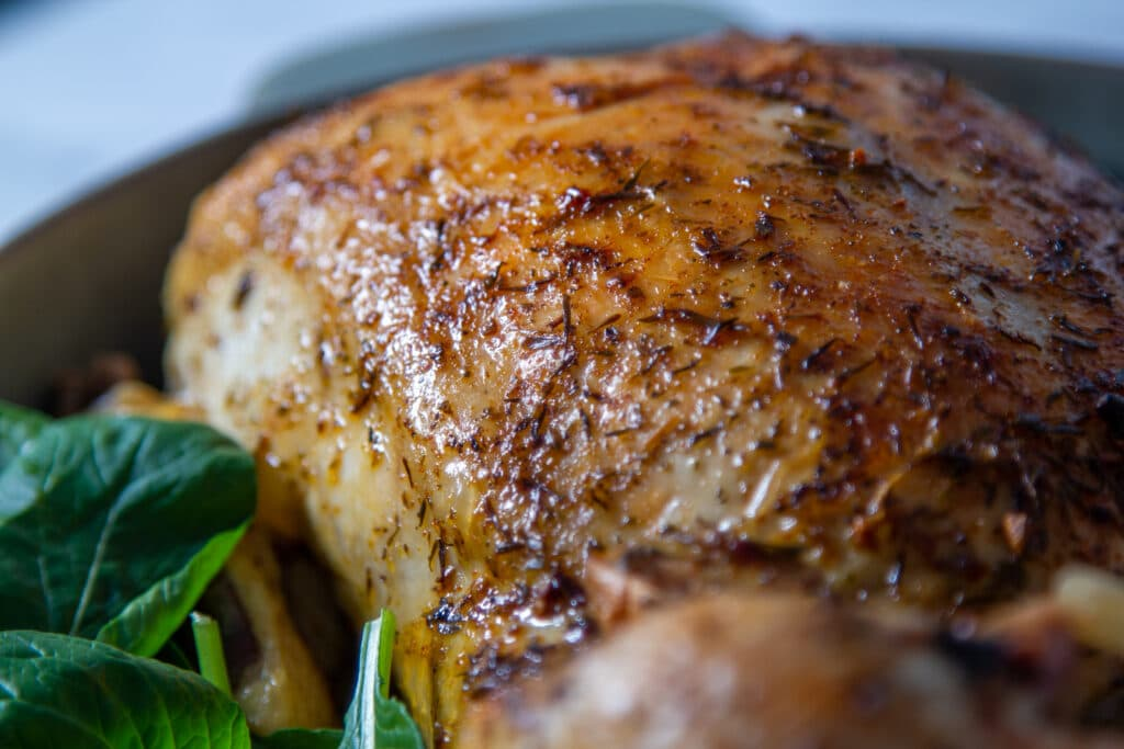 Close up of roast chicken crispy skin