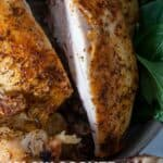 slow cooked whole chicken pinterest image