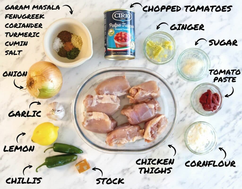 A photo of the ingredients for a Crockpot Chicken Bhuna.