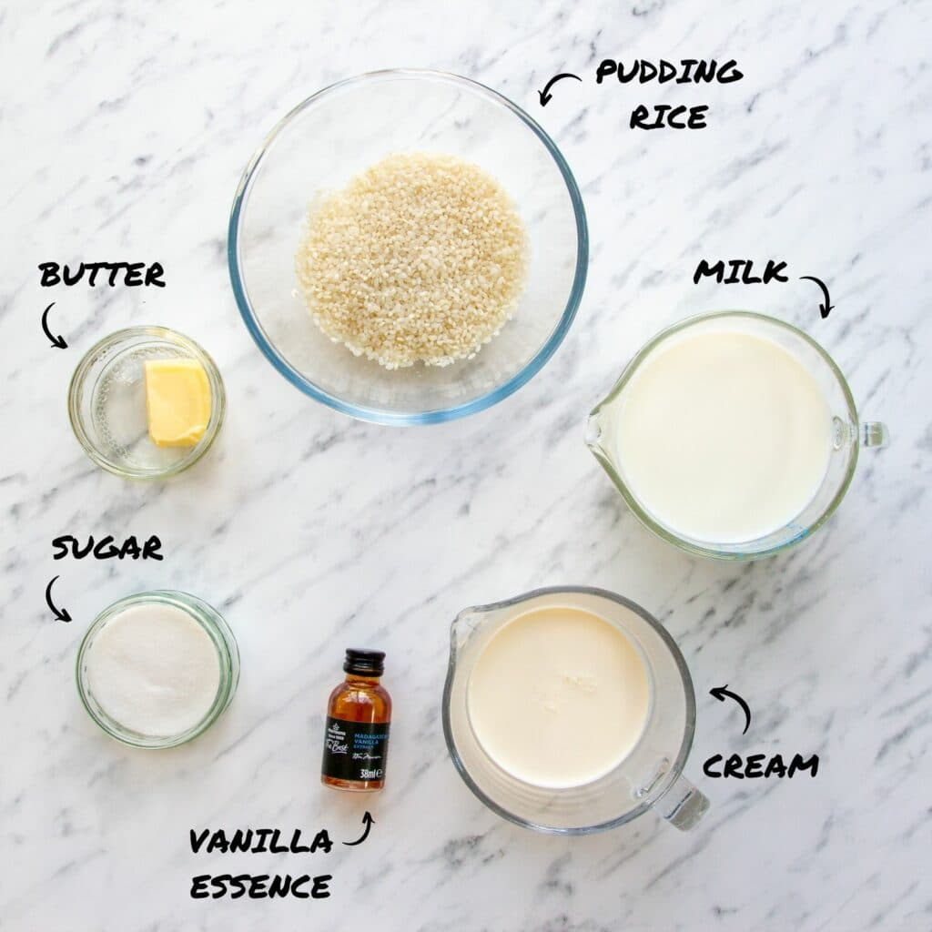 Overhead photo of slow cooker rice pudding ingredients - rice, butter, milk, cream, sugar, vanilla essence