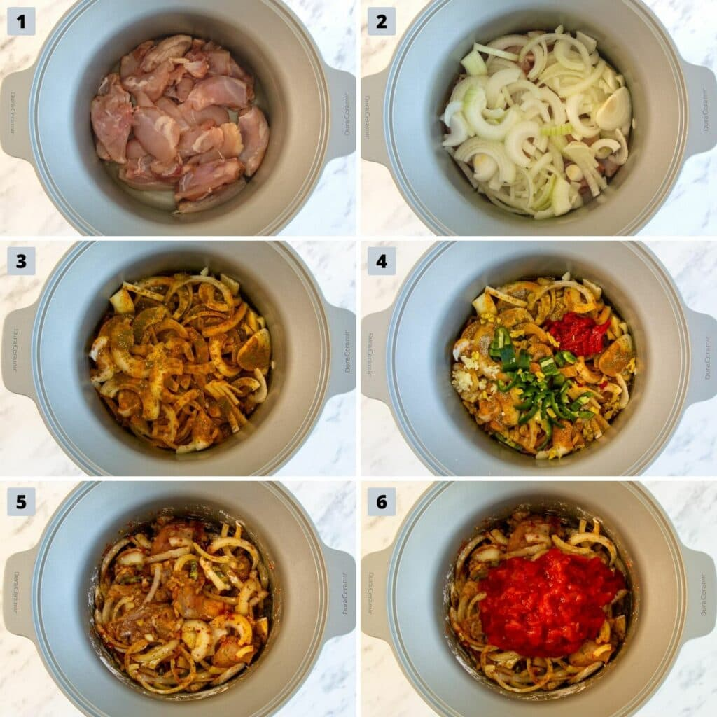 Images of the six steps to make Chicken Bhuna in the crockpot