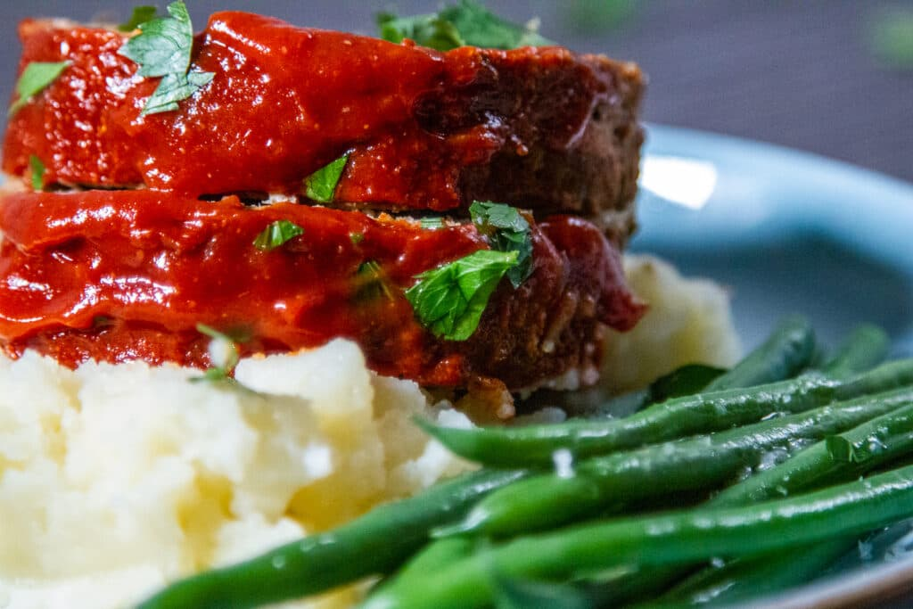 Close up view of Meatloaf with tomato glaze.