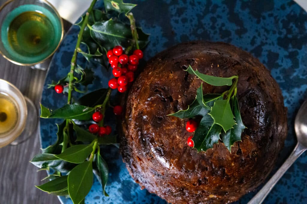 Overhead view of Slow Cooker Christmas Pudding