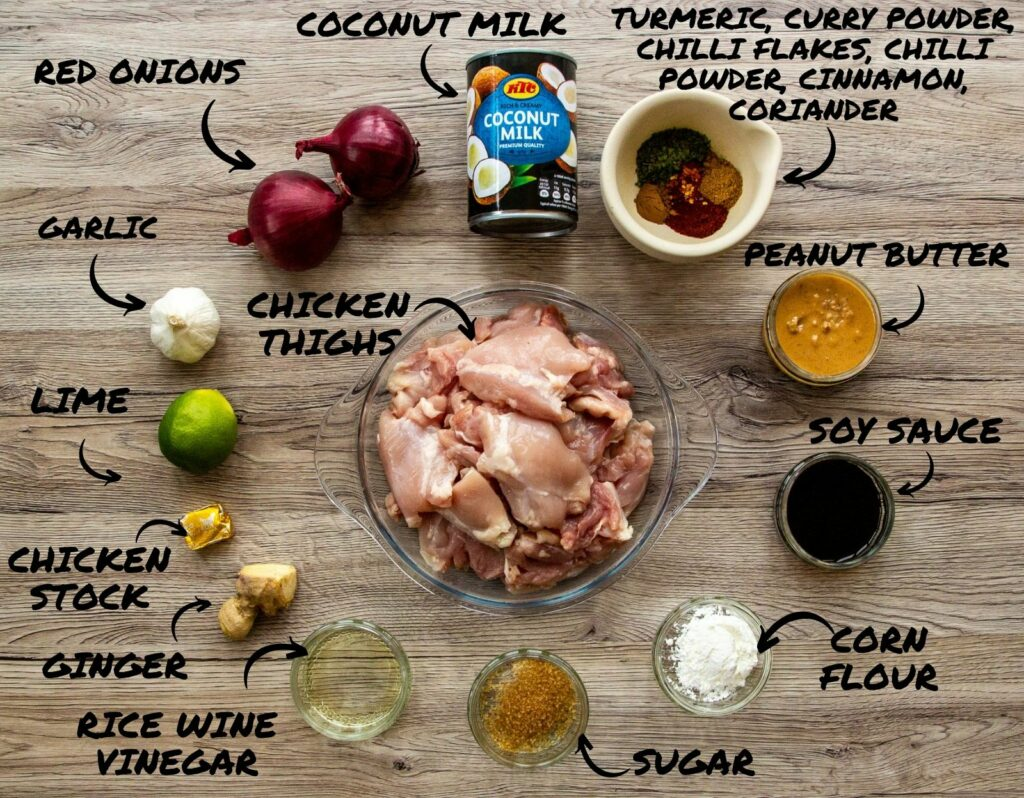 Picture of the ingredients required to make Slow Cooker Chicken Satay Curry.