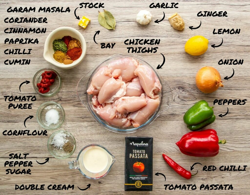 Top down photo of the ingredients used in a chicken curry