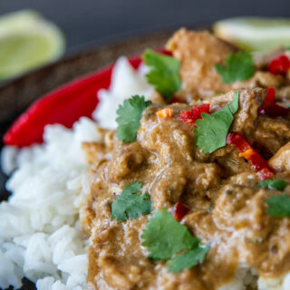 Close up image of Slow Cooker Chicken Satay curry and rice.