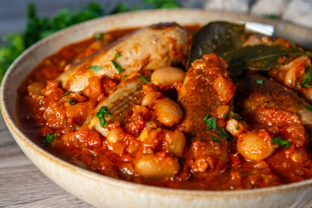Slow Cooker Sausage and Bean Casserole in a bowl.