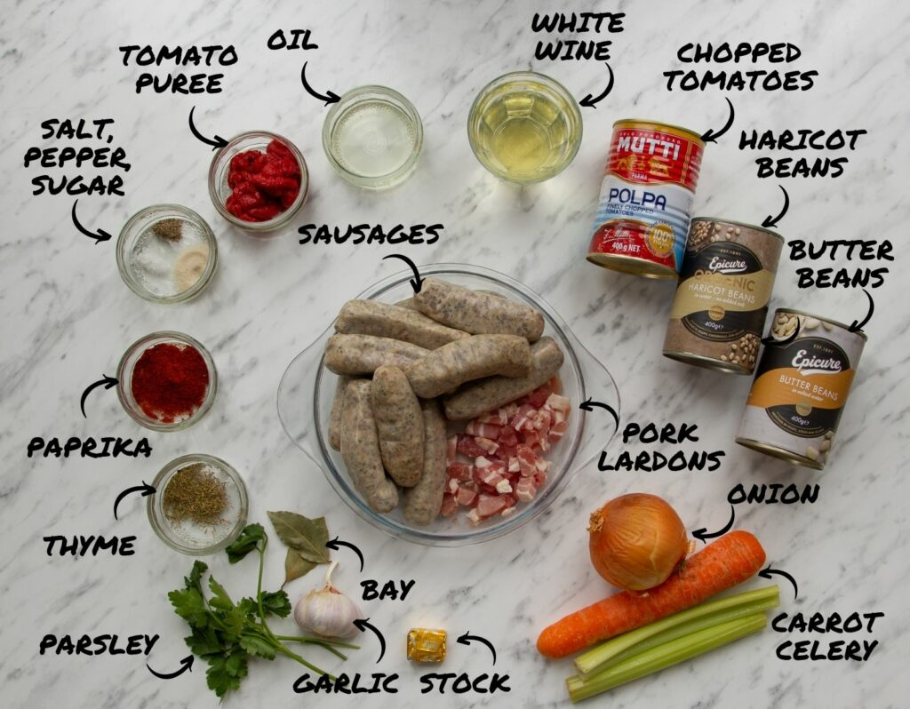 Ingredients required to make Slow Cooker Sausage Casserole.