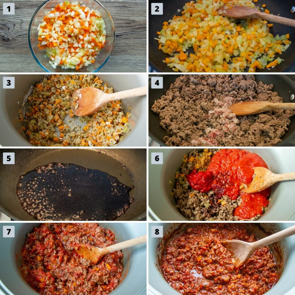 View of 8 pictures which depict the steps to make Slow Cooker Bolognese. These include cooking vegetables, browning the meat, reducing the wine and making the sauce.