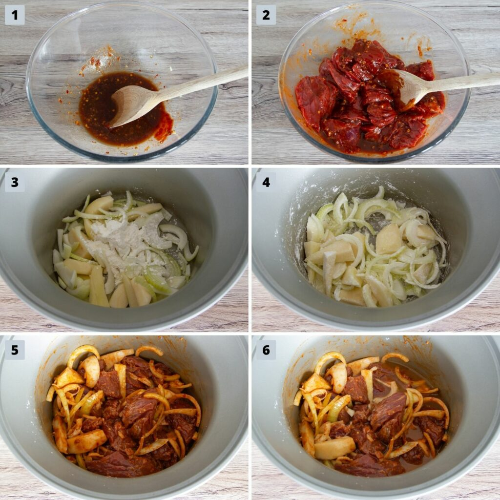 Picture of the six steps to make Slow Cooker Korean Beef.